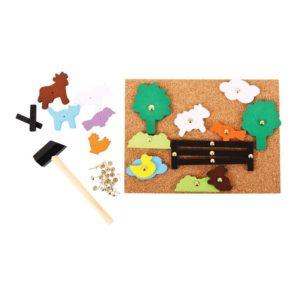 Детска коркова дъска с животни от фермата и чукче Bigjigs BJ178 1