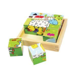 Детски дървени кубчета с животни от фермата Bigjigs BJ536 1