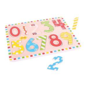 Детски дървен пъзел с числа от 0 до 9 Bigjigs BJ756 1