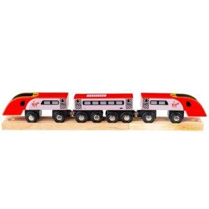 Детско дървено влакче с релси Bigjigs Rail - Пендолино BJT461 1