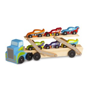 Детско дървено камионче автовоз с 6 коли Melissa & Doug 12759 1