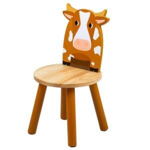 Детско дървено столче кравичка Bigjigs T0621 1