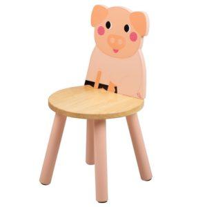 Детско дървено столче прасенце Bigjigs T0622 1
