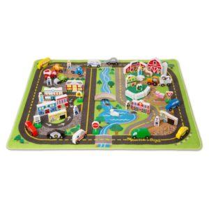 Детско килимче за игра Делукс с пътища, сгради и превозни средства Melissa & Doug 15195 1