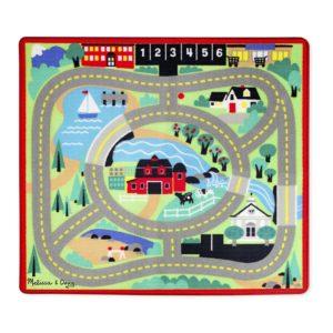 Детско килимче за игра с пътища и дървени колички Melissa & Doug 19400 1