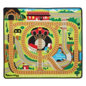 Детско килимче за игра с релси и дървено влакче Melissa & Doug 19554 1