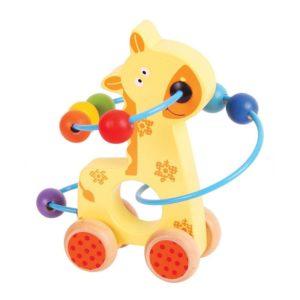 Дървена играчка за бутане жирафче Bigjigs BB069 1