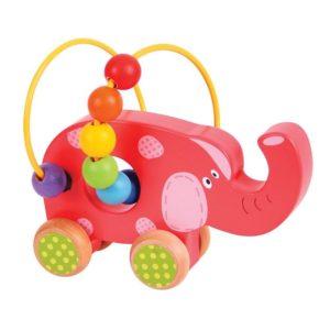 Дървена играчка за бутане слонче Bigjigs BB071 1