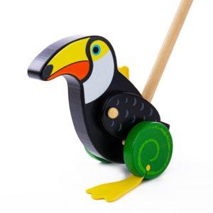 Дървена играчка за бутане тукан Bigjigs BB135 1