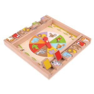 Дървена игра с животни затвори кутията Bigjigs BJ698 1