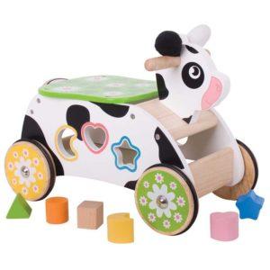 Дървена крава за каране със сортер Bigjigs BB029 1