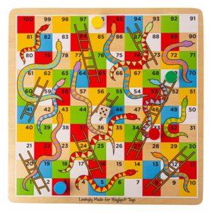 Дървена настолна игра Змии и стълби Bigjigs BJ788 1
