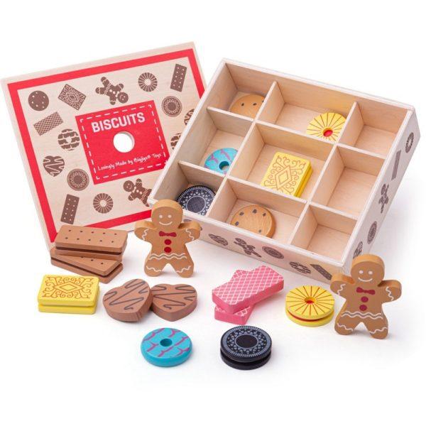 Дървени бисквитки в кутия Bigjigs BJ470 1