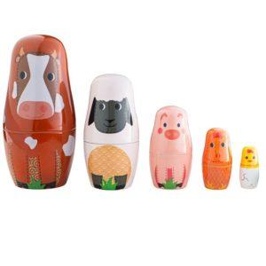Дървени матрьошки за деца Bigjigs - Животните от ферматаT0532 1