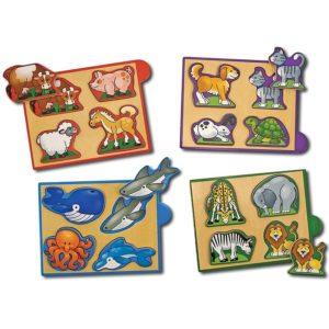 Дървени пъзели с животни Melissa & Doug - 4 броя 14790 1