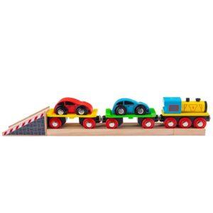 Дървено влакче автовоз с колички Bigjigs Rail BJT199 1