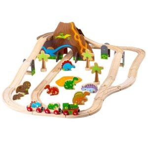 Дървено влакче с релси и динозаври Bigjigs Rail BJT035 1