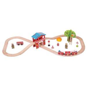 Дървено влакче с релси Bigjigs Rail - Пожарна станция BJT037 1