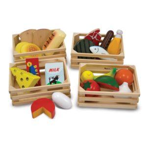 Дървен комплект хранителни продукти за сортиране в щайги Melissa & Doug 1