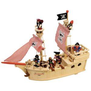 Дървен пиратски кораб с екипаж Bigjigs T0094 1
