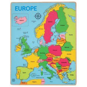 Дървен пъзел карта на Европа Bigjigs BJ048 1