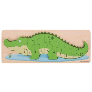 Дървен пъзел крокодил с числа Bigjigs BJ029 1