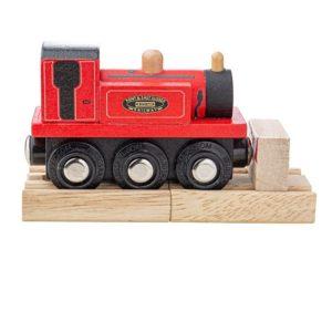 Дървен червен локомотив Териер Bigjigs Rail BJT489 1