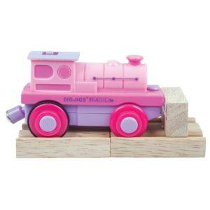Пластмасов розов локомотив на батерии Bigjigs Rail BJT305 1