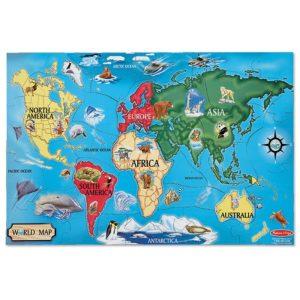Пъзел карта на света с животни от 33 части Melissa & Doug 10446 1
