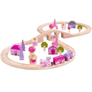 Розово детско дървено влакче Bigjigs Rail с приказни герои BJT022 1