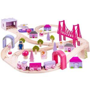 Розов детски дървен влак Bigjigs Rail - Градът на феите BJT023 1