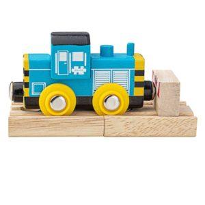 Синьо дървено локомотивче Diesel Shunter Bigjigs Rail BJT488 1