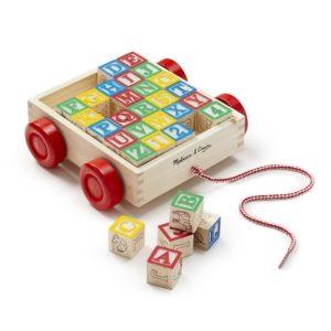 Детска дървена количка за дърпане с кубчета Melissa & Doug 11169 (1)