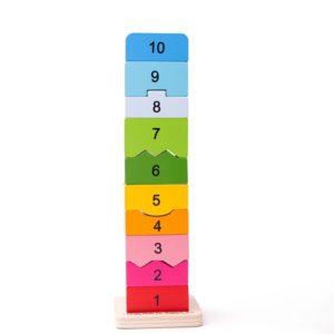 Детска дървена кула с елементи от 1 до 10 Bigjigs BB107 (1)
