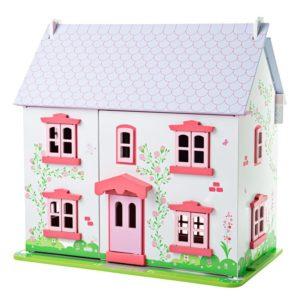 Детска дървена къща с обзавеждане и семейство Къщичка с рози BigJigs JT101 (1)