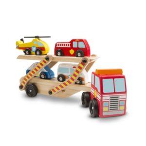 Детска играчка дървен автовоз на две нива Спешна помощ Melissa & Doug 14610 (1)