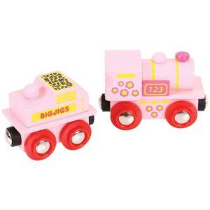 Детска играчка дървен розов локомотив 123 BigJigs BJT412 1