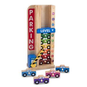 Детски гараж от дървена колона с колички за сортиране Melissa & Doug 15182 (1)