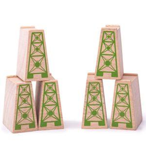 Детски дървени блокчета за повдигане на релси 12 броя BigJigs BJT053 (1)