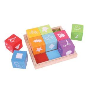 Детски дървени кубчета с картинки Bigjigs BB091 (1)