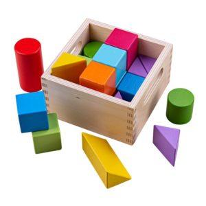 Детски дървени многоцветни блокчета Геометрични фигури Дъга BigJigs BB095 1