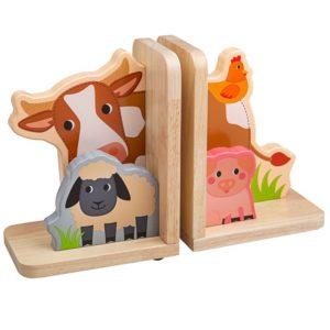 Детски дървени подпори за книги Ферма BigJigs T0601 (1)