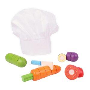 Детски дървен готварски комплект Зеленчуци за рязане BigJigs BJ649 (1)