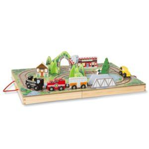 Детски дървен комплект в куфарче Железопътна линия Melissa & Doug 40140 (1)