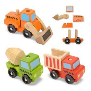 Детски дървен комплект за нанизване Строителни превозни средства Melissa & Doug 13076 (1)