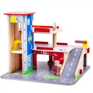 Детски дървен паркинг с гараж BigJigs JT153 (1)