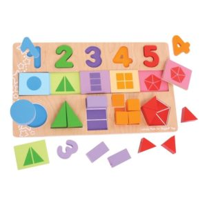 Детски дървен пъзел Числа и форми BigJigs BJ459 1