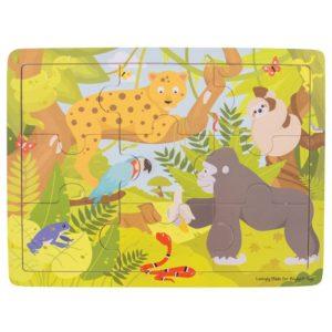 Детски дървен пъзел в рамка Джунгла Bigjigs BJ222 1