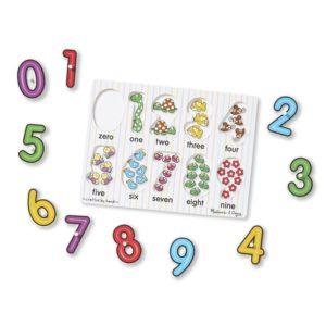 Детски дървен пъзел с дръжки Цифри Melissa & Doug 13273 (1)