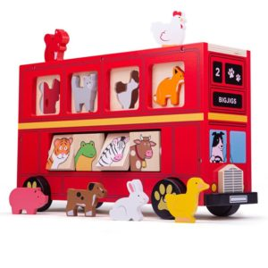 Детски дървен сортер Червен автобус BigJigs BJ692 (1)